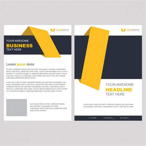 yellow business brochure template with geometric shapes