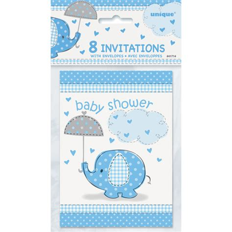 Baby Shower Invitations Walmart by Blue Elephant Baby Shower Invitations 8pk Walmart
