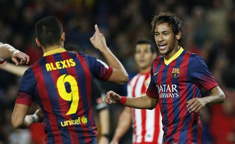 alexis sanchez neymar barcelona 4 1 almeria the chase is on