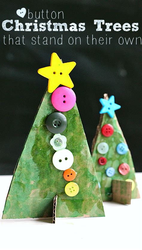 best craft for kindergardener for christmas button tree crafts no time for flash cards