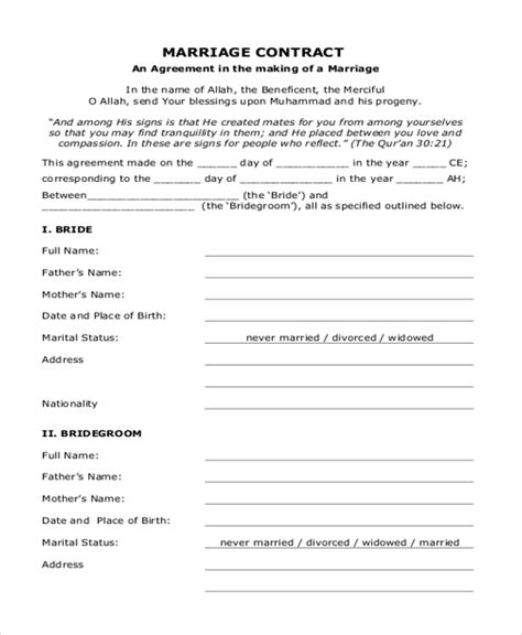 islamic marriage contract template sle marriage contract form 8 free documents in doc pdf