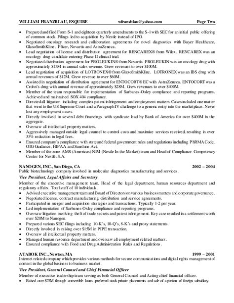 resume sle in house counsel 28 images litigation
