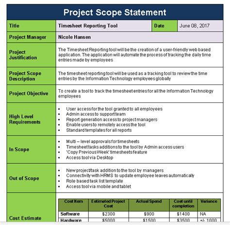 project scope sle template project scope statement template free free