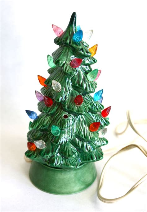 small ceramic light up christmas tree tiny 1950s 1960s light up ceramic christmas tree