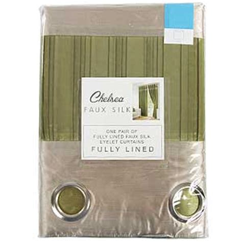 buy olive green faux silk curtains    cm  home