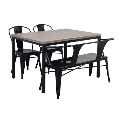 dining set with bench and chairs 53 off grey dining table set with chairs and bench tables