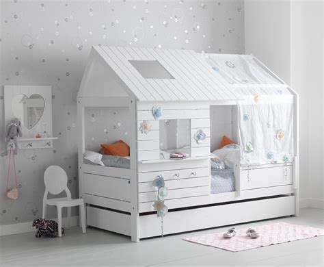 hut bed solid wood white for children in s a