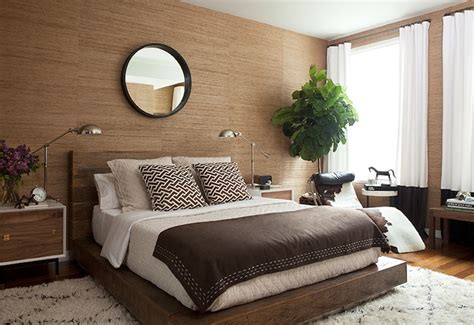 bedroom with brown wallpaper decorating room ideas general 2 tone curtains contemporary bedroom jenny wolf