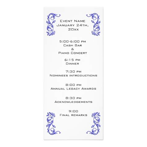 wedding reception order of events program customized even