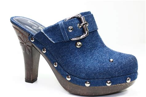 high heel clogs for clogs high heel mules denim navy shoes all sizes