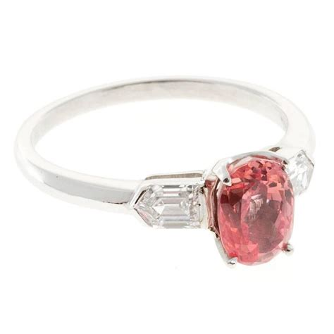 padparadscha sapphire engagement ring natural pink padparadscha sapphire diamond platinum ring