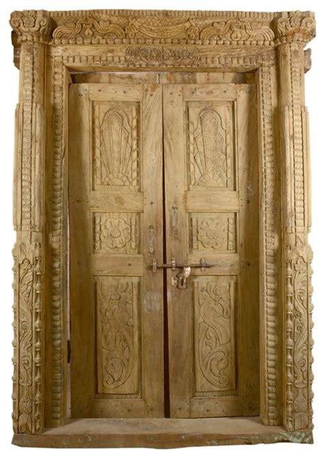Carved Interior Doors Exquisite Carved Salvage Teak Wood Door Traditional