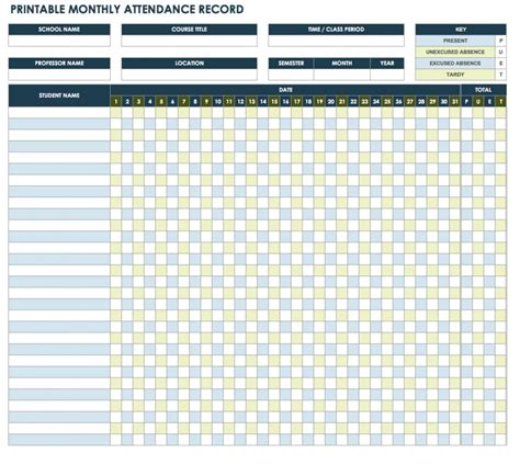 monthly attendance record template free attendance spreadsheets and templates smartsheet