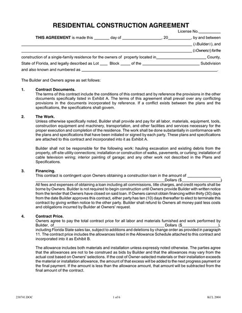 residential construction contract template template design