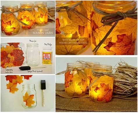diy autumn leaf jars lattern