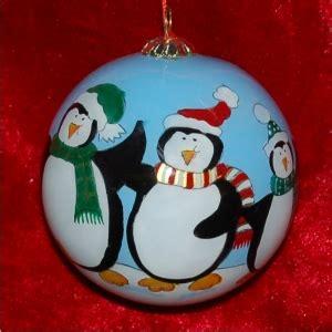 family of 4 penguin ball glass ornament | 500+ glass