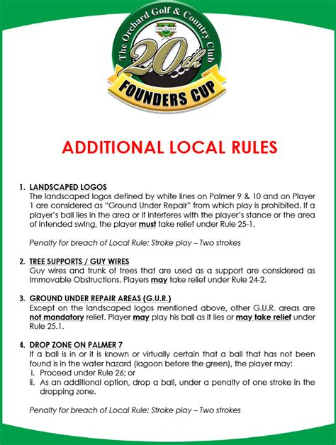additional local rules the orchard golf country club
