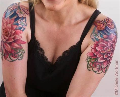 cap sleeve tattoo lotus and dragonfly with dahlia and butterfly floral