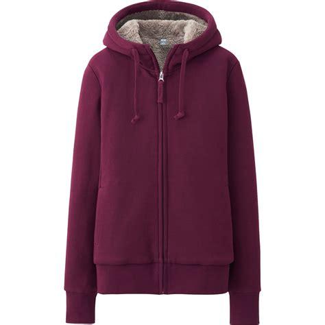 Uniqlo Zip Hoodie 7 uniqlo faux shearling sweat sleeve zip hoodie in purple wine lyst