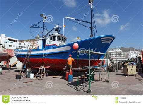 fishing boat maintenance fishing boat maintenance editorial stock image image