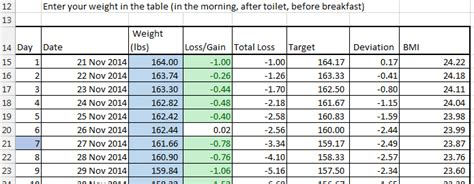 Loser Excel Spreadsheet by Loser Weight Loss Excel Spreadsheet