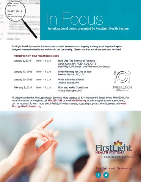 Light Health System by In Focus Schedule Of Topics January Feburary
