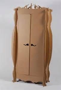 cardboard wardrobe on cardboard furniture