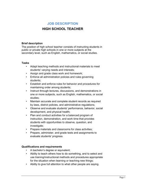 High School Teacher Job Description Template Sle Form Biztree Com School Brief Template