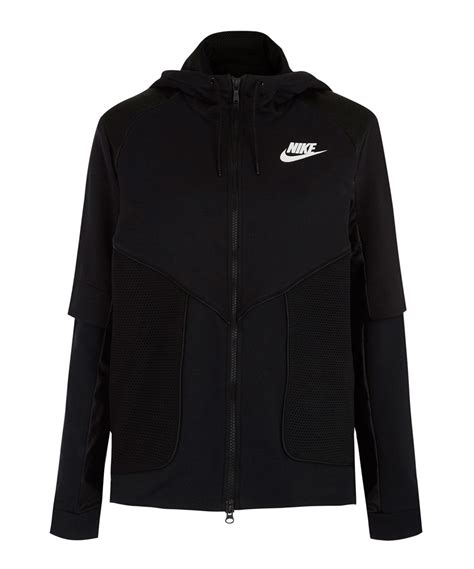 nike black perforated zip hoodie jacket in black lyst