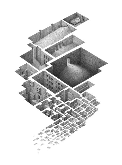 M Drawing Design by Labyrinthine Drawings Of Interconnected Rooms By Mathew