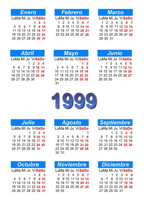 Calendario De 1999 Calendario 1999 Para Imprimir Y Descargar Pdf Abc