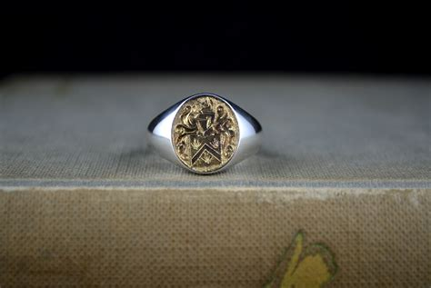 crafted 14k gold and sterling silver mens signet ring