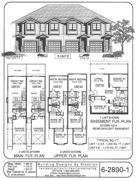 6 plex bigger unit 3 bar 72x74 apartment house plan 4 plex skinny units rental pinterest
