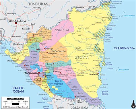 political map of nicaragua political map of nicaragua ezilon maps