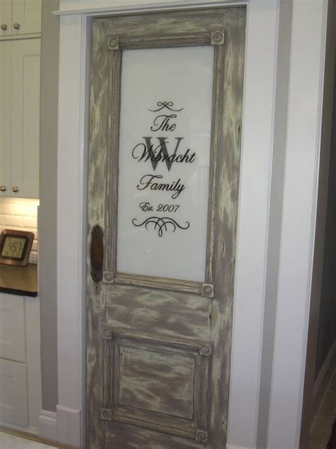 Kitchen Pantry Door Ideas Kitchens And Distressed Gray Stained Wooden Pantry Door With Panel Also Etched Pantry Doors 10