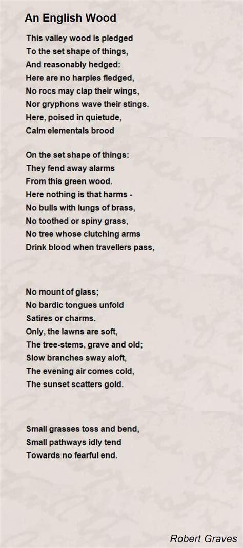 an english wood poem by robert graves poem hunter