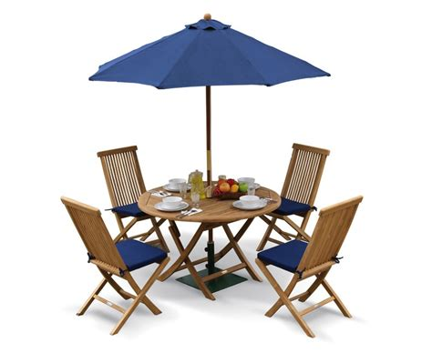 Suffolk Folding Round Garden Table And Chairs Set Folding Patio Dining Set