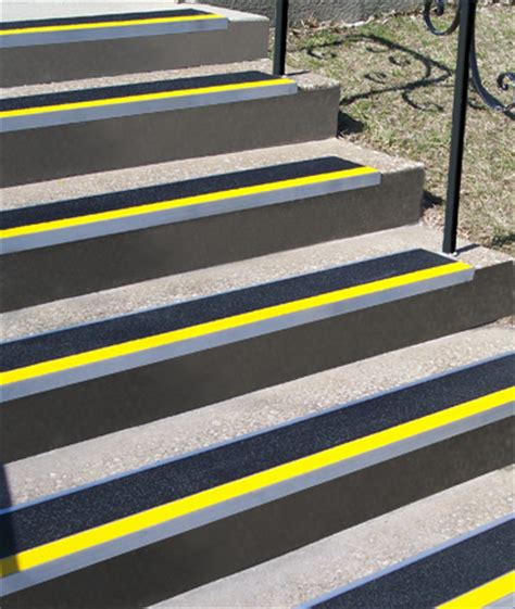 metal stair treads  colored abrasive strips