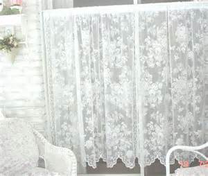 Cottage Lace Curtains Vintage Lace Curtains Roses Cottage By Estatesaletreasure On Etsy