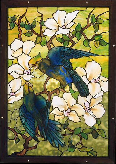 louis comfort tiffany stained glass hibiscus and parrots louis comfort tiffany stained