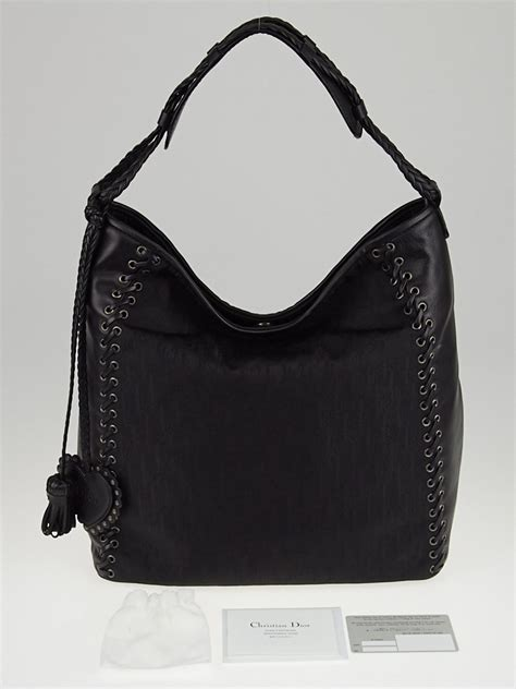 Diorissimo Hobo by Christian Black Diorissimo And Leather Grommet