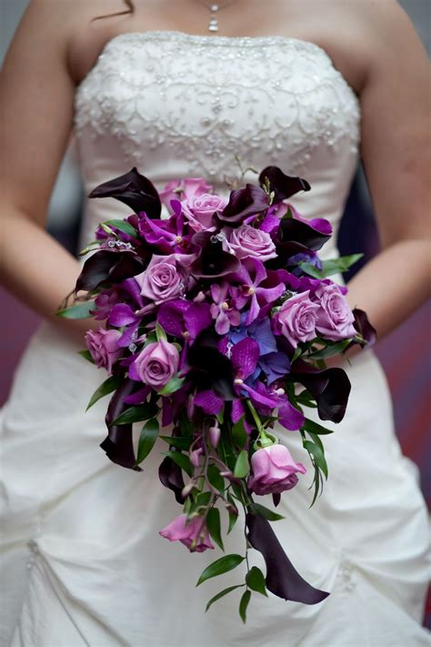Purple Wedding Flowers by Purple Bridal Bouquet