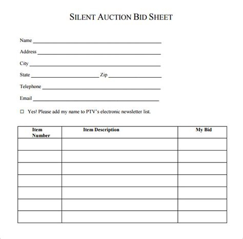 bid free silent auction bid sheet template 9 free