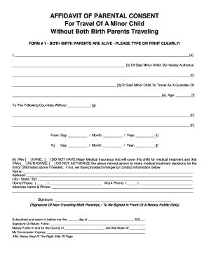authorization letter minor travel without parents consent form for minor traveling without parents