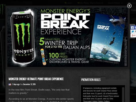 Monster Energy Sweepstakes - monster energy ultimate point break experience sweepstakes
