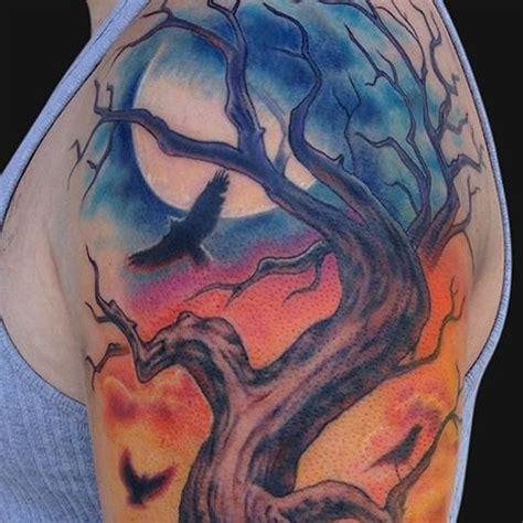 scary tree tattoo designs horror tree misc sleeve tatts