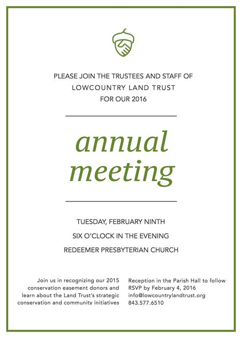 Reply Letter For Meeting Invitation Annual Meeting Invitation Lowcountry Land Trust