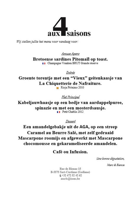 voorbeeld menukaart fotoboek aux 4 saisons