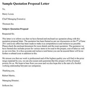 Business Letter Sample For Quotation sample quotation proposal letter