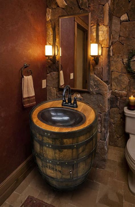 man cave bathroom decorating ideas whiskey barrel sink hammered copper rustic antique